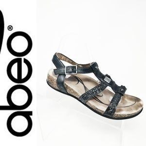Womens 10 M ABEO Metatarsal Sandals Black Leather